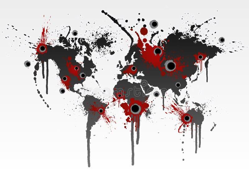 blodig begreppsglobalisering stock illustrationer