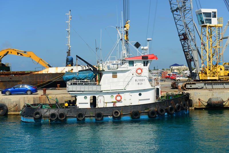 Blodig fjärd för bogserbåt i Caymanöarna royaltyfri bild