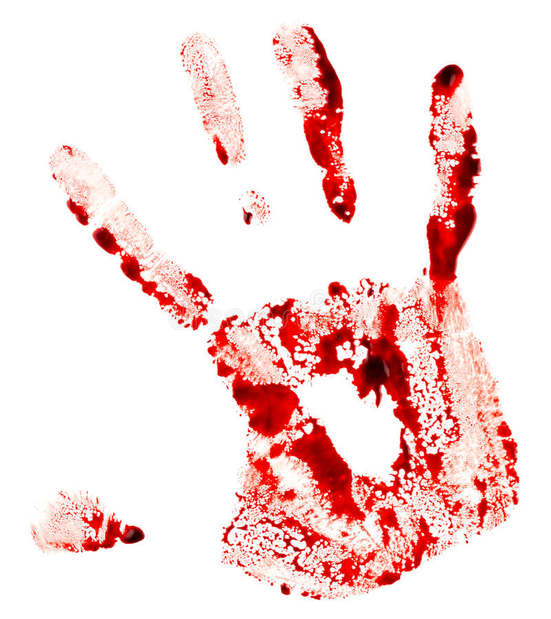 blodig handprint arkivfoton