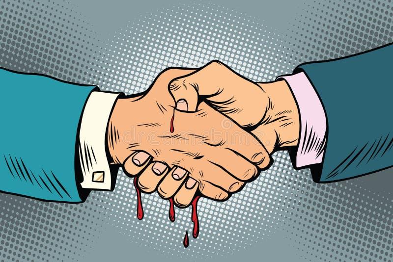 Blodig handskakning, hemlig affärstransaktion royaltyfri illustrationer