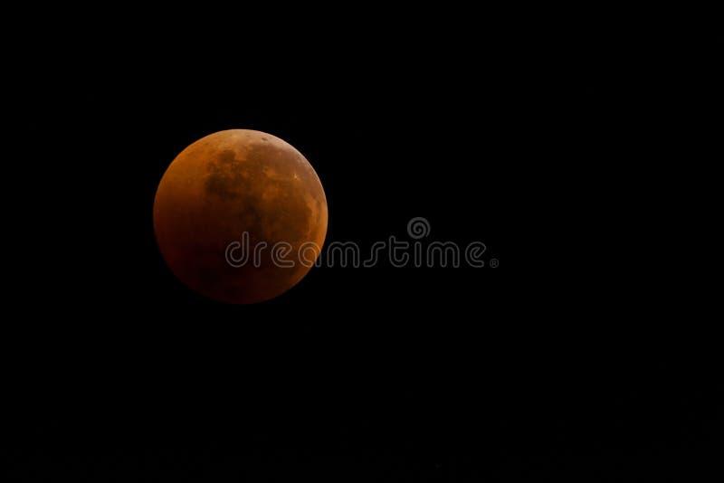 Blodig månenärbild mot en svart himmel som ett resultat av en astronomisk händelsemånförmörkelse Sikt i teleskop, placering på se royaltyfri bild