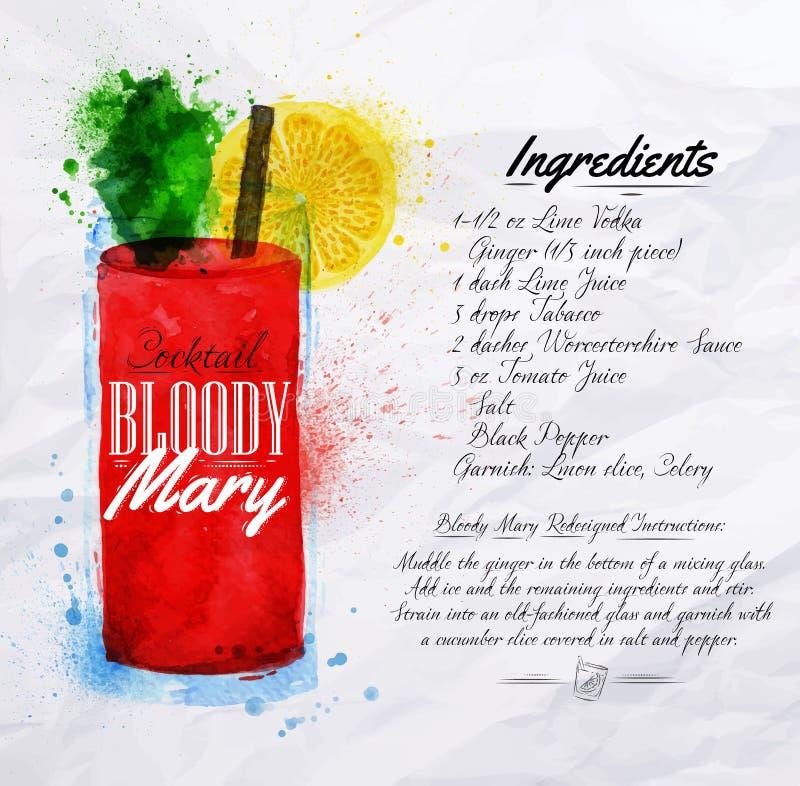 Blodiga mary coctailvattenfärg royaltyfri illustrationer