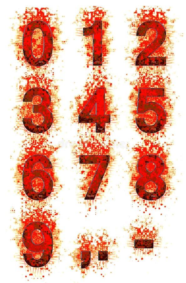 Blodiga siffror vektor illustrationer
