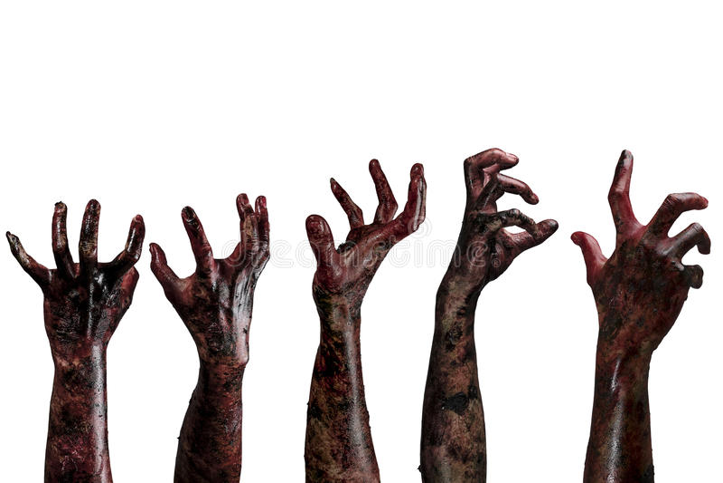 Blodlevande dödhänder, levande dödtema, halloween tema royaltyfri foto