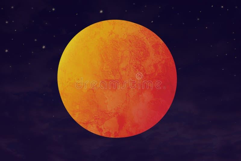 Blodmåne och röd planetillustration royaltyfria bilder