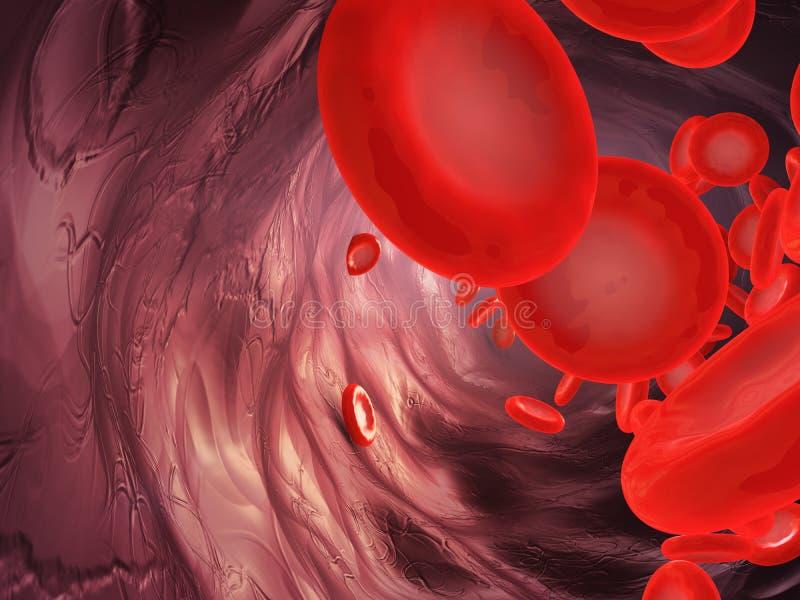 Blodpartiklar i artären royaltyfri illustrationer