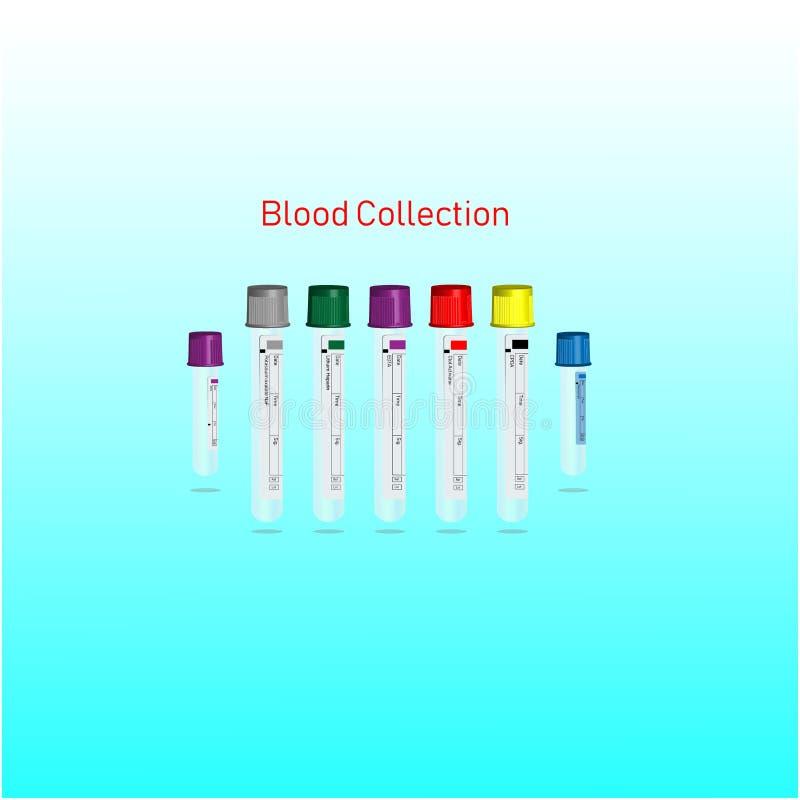 Blodsamlingsrör för kliniskt vektor illustrationer