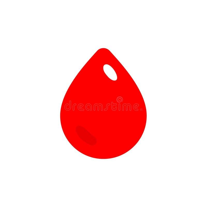 Blodsymbol för röd droppe, givar-symbol, enkel plan stilillustration vektor illustrationer