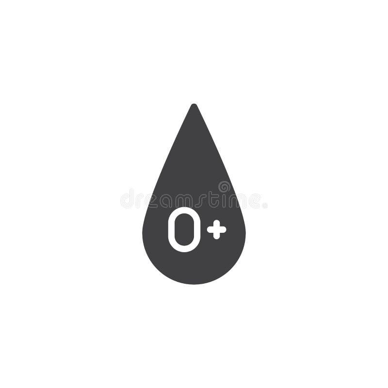 Blodtyp 0 plus vektorsymbol stock illustrationer