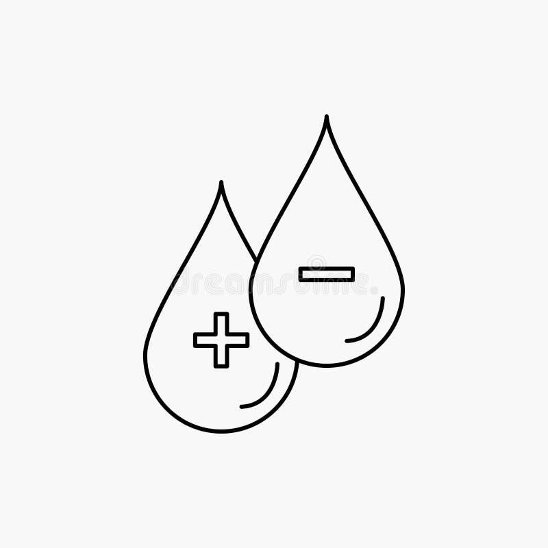bloed, daling, vloeistof, plus, Minus Lijnpictogram Vector ge?soleerde illustratie royalty-vrije illustratie