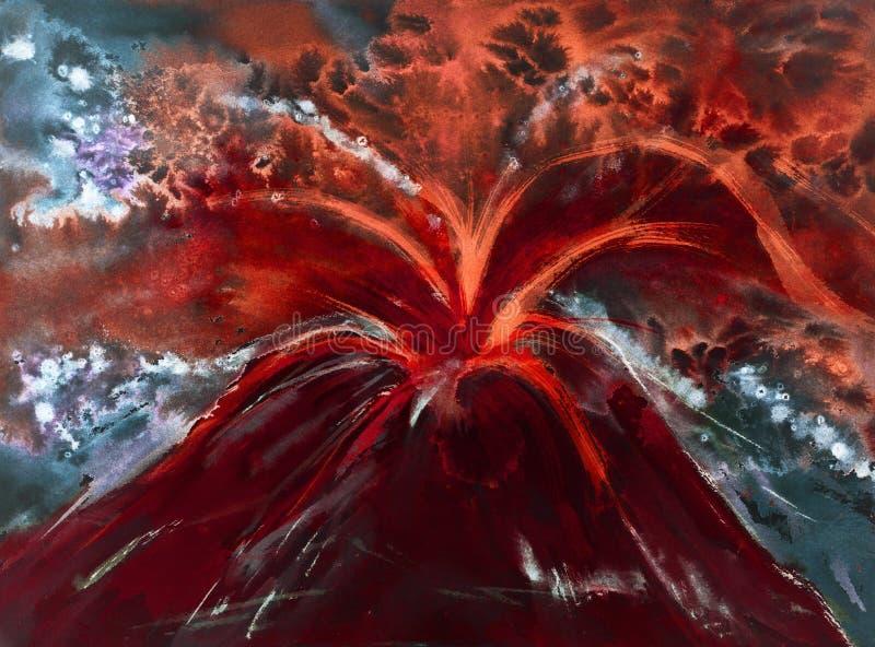 Bloed rode vulkaan die magma spuiten royalty-vrije illustratie