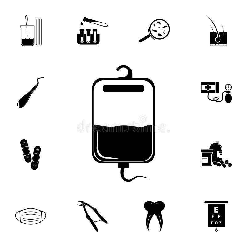 Bloed voor transfusiepictogram Gedetailleerde reeks geneeskundepictogrammen Grafisch het ontwerpteken van de premiekwaliteit Één  vector illustratie