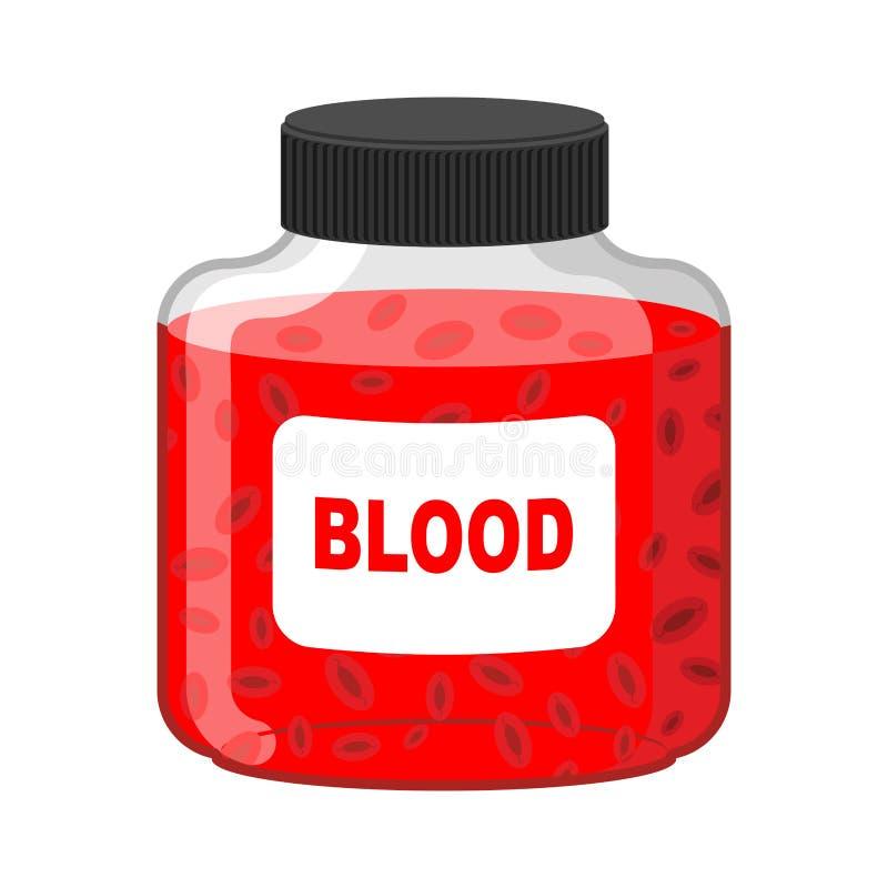 Bloedbank Fles van Rode vloeibaar-lymfe Vector illustratie GIF royalty-vrije illustratie
