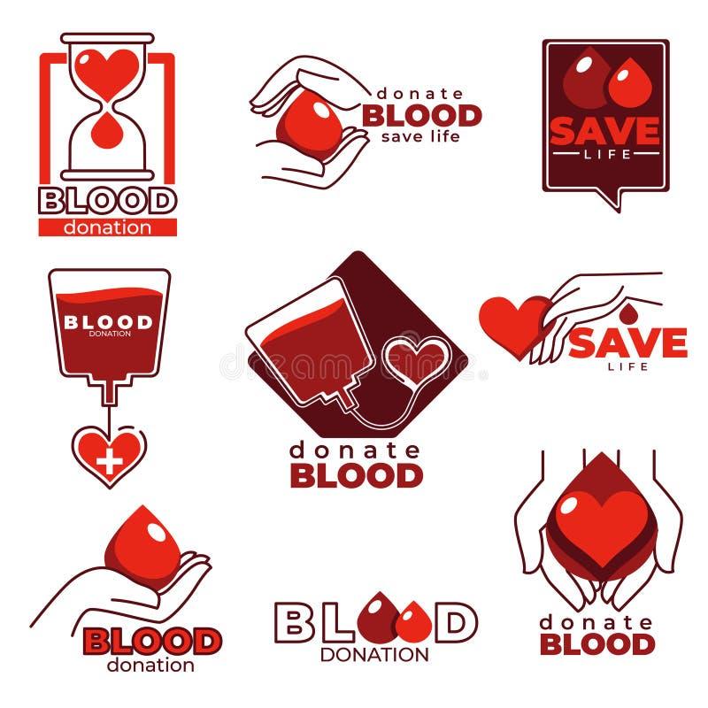 Bloeddonatie en liefdadigheidshulp geïsoleerde pictogrammen stock illustratie