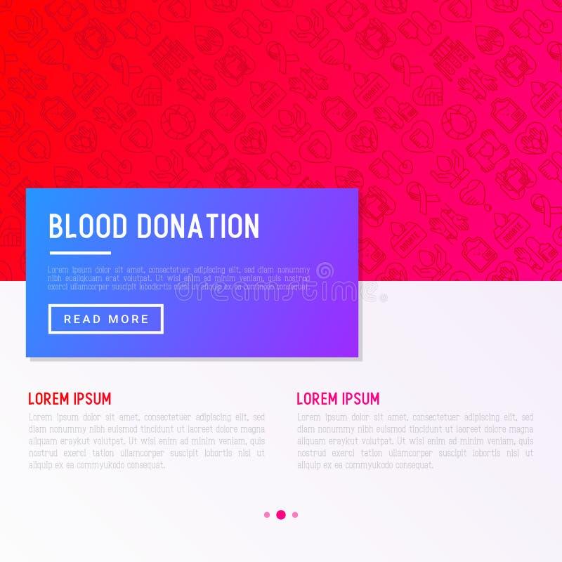 Bloeddonatie, liefdadigheid, wederzijds hulpconcept met dunne lijnpictogrammen vector illustratie