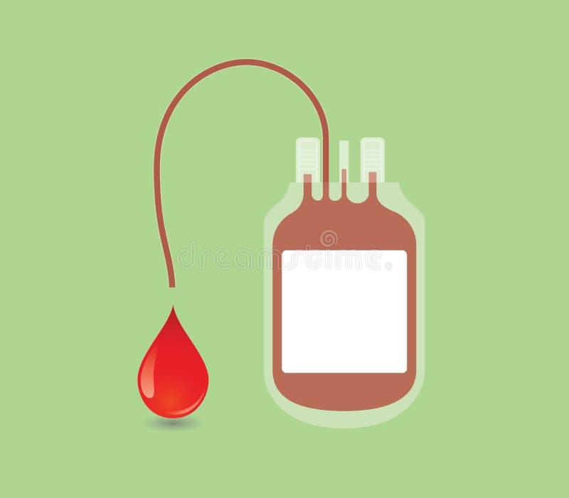 Bloeddonatieconcept met zak en illustratievector royalty-vrije illustratie