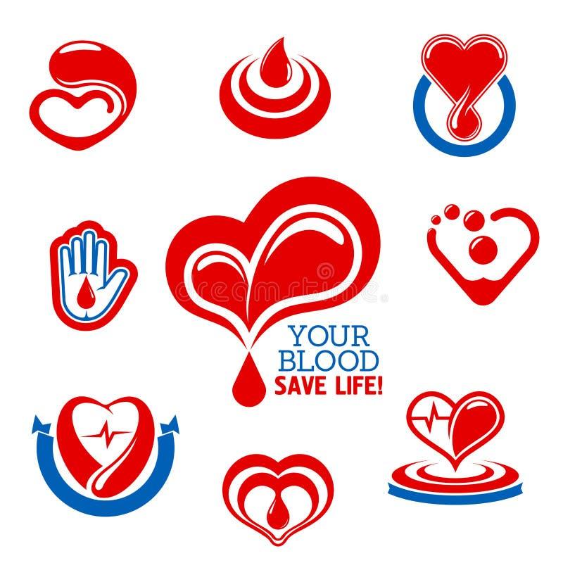 Bloeddonatiepictogrammen voor medisch liefdadigheidsontwerp vector illustratie