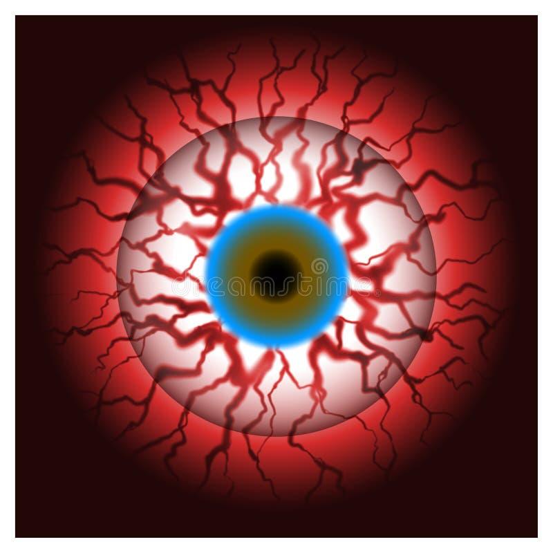 Bloeddoorlopen oog bloedige oogappel vector illustratie
