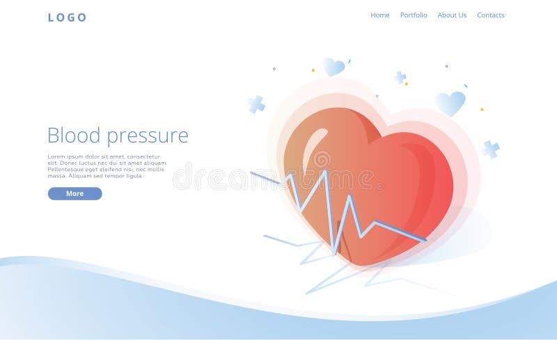 Bloeddrukconcept in isometrische vectorillustratie Slagaderlijke van de druk het meten of controle machine Medische website stock illustratie