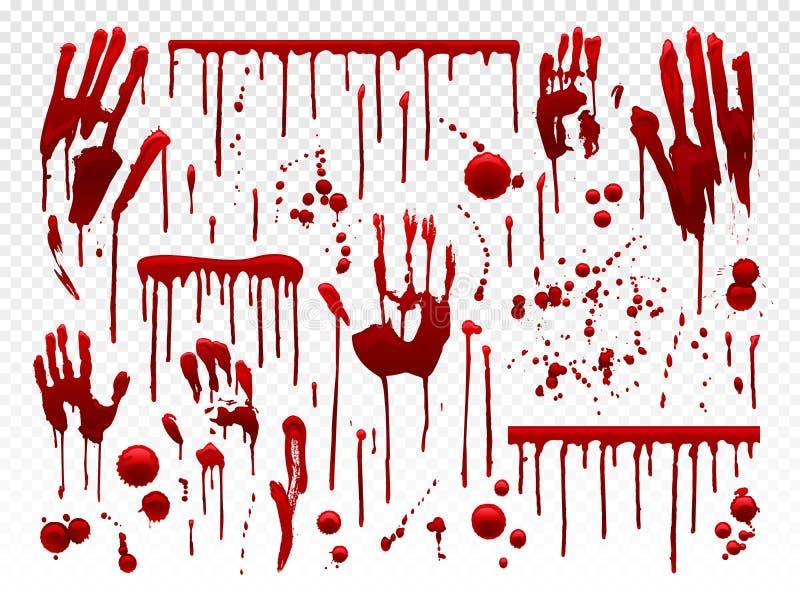 Bloeddruppel De rode verfplons, bloedig Halloween ploetert vlekken en aftappende handsporen Het druipen de textuur van de bloedve royalty-vrije illustratie