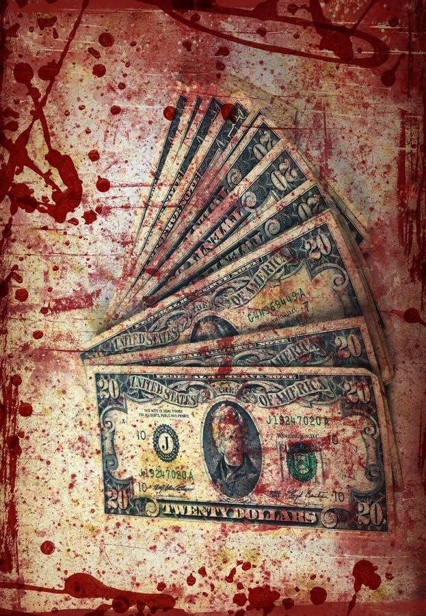 Bloedgeld, Amerikaanse dollars, verwerkt artistiek royalty-vrije stock foto's