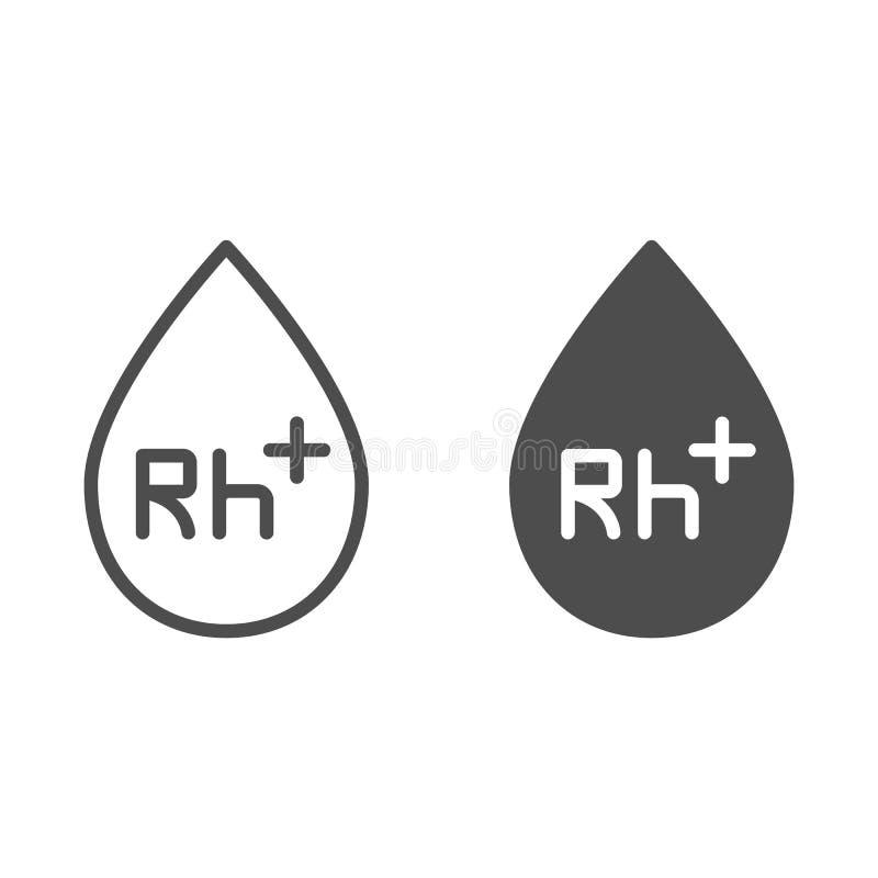 Bloedgroeplijn en glyph pictogram Bloeddonatie vectordieillustratie op wit wordt geïsoleerd Het ontwerp van de het overzichtsstij royalty-vrije illustratie