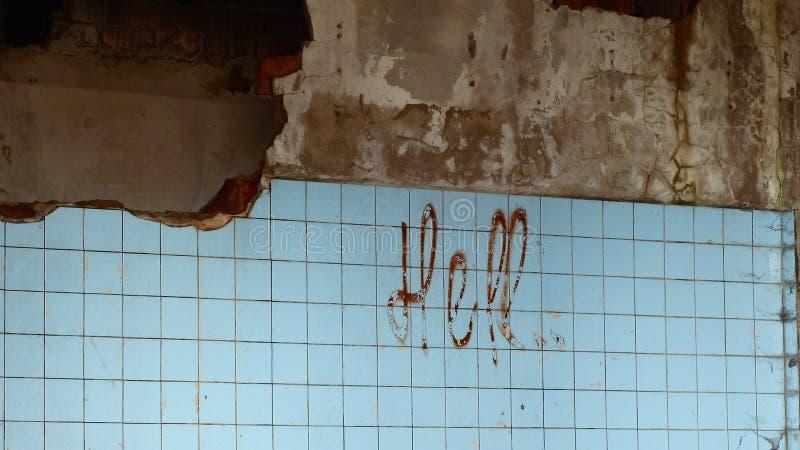 Bloedig teken op de muur royalty-vrije stock afbeelding