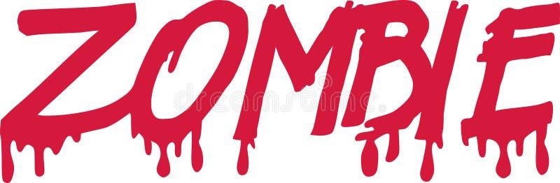 Bloedig zombiewoord stock illustratie