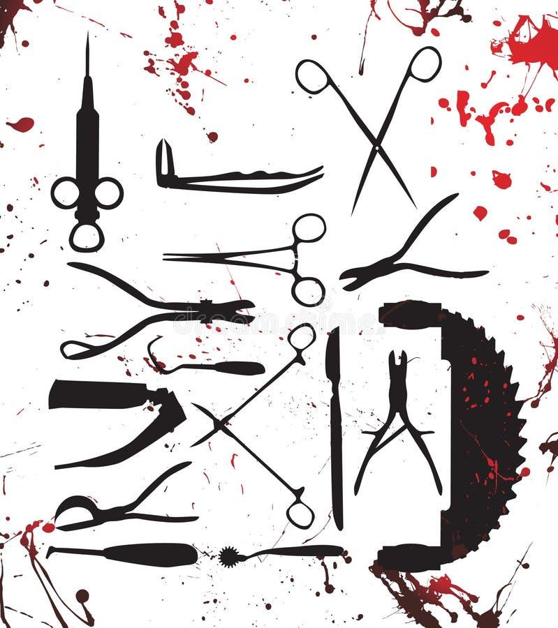 Bloedige chirurgiehulpmiddelen vector illustratie