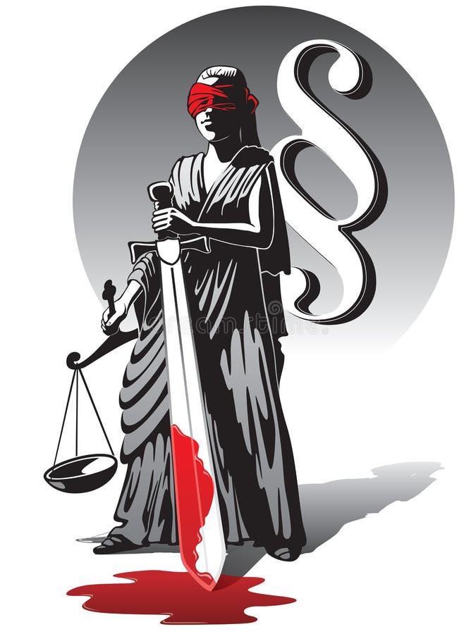 Bloedige Dame Justice royalty-vrije illustratie