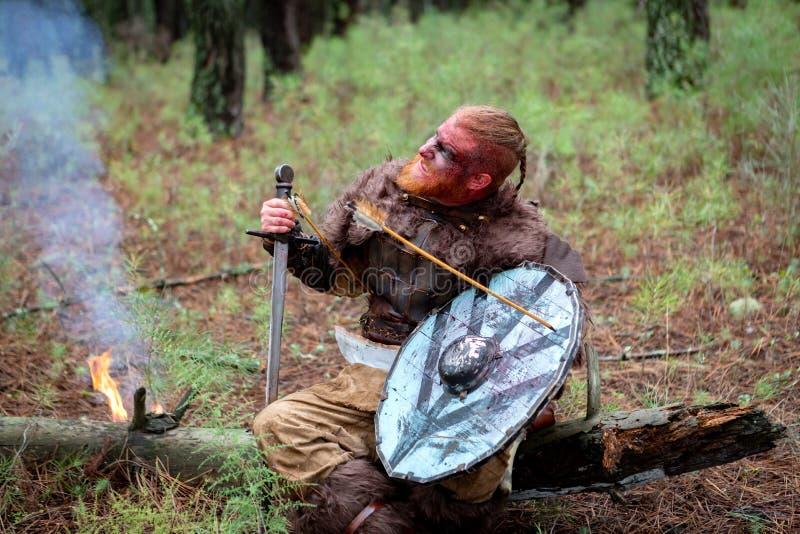 Bloedige echte Viking met een pijl op zijn schild royalty-vrije stock afbeelding