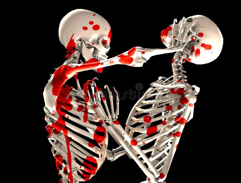 Bloedige het Vechten Skeletten royalty-vrije illustratie