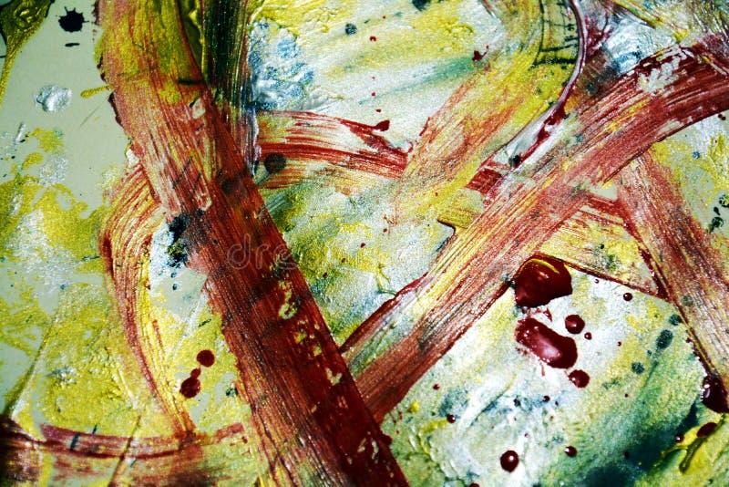 Bloedige rode gouden zilverachtige donkere hypnotic verfstructuur, verfstructuur, verf abstracte creatieve achtergrond royalty-vrije stock foto