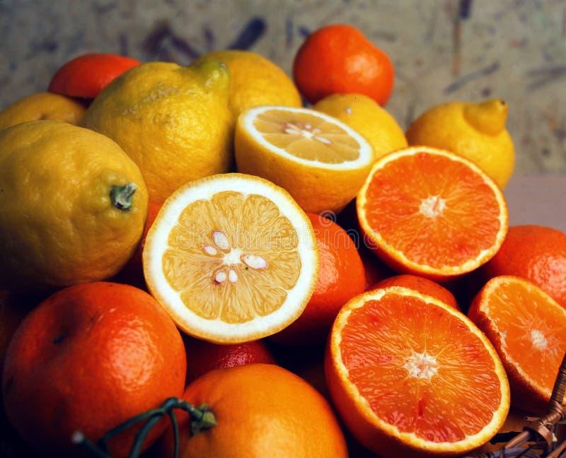 Bloedsinaasappelen en Citroenen stock foto's