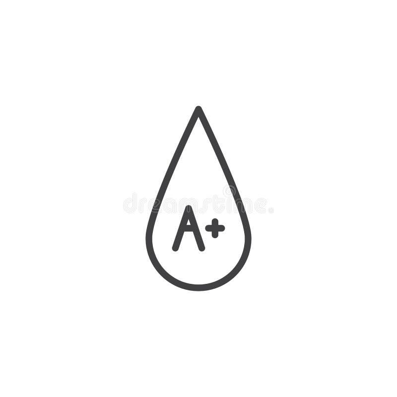 Bloedtype A plus lijnpictogram vector illustratie