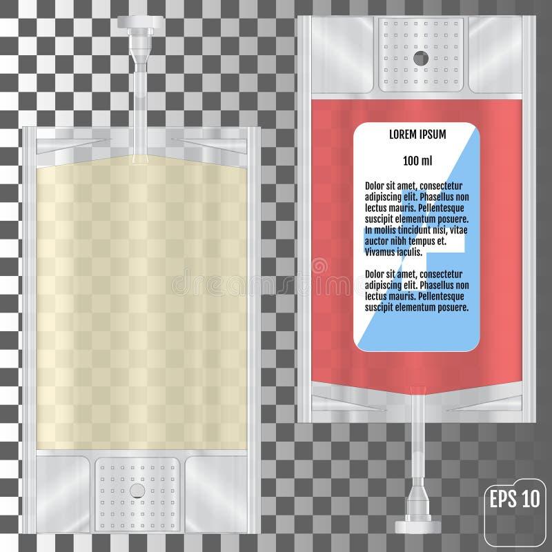 Bloedzak op transparante achtergrond wordt geïsoleerd die stock illustratie