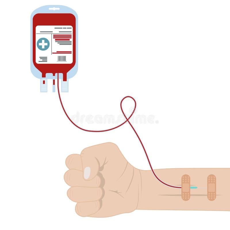 Bloedzak, pak met donorhanden die op witte achtergrond worden geïsoleerd Bloeddonatie, transfusie MEDISCH concept Vlakke beeldver vector illustratie