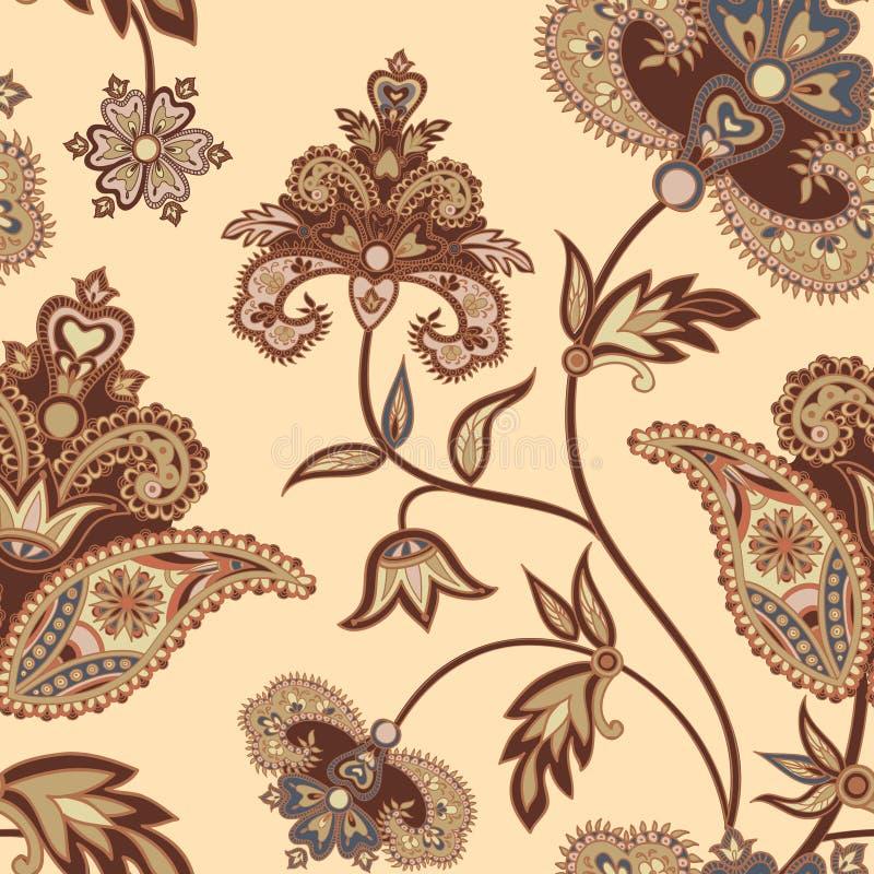 Bloei betegeld patroon Bloemen retro achtergrond Gebogen boombustehouder stock illustratie