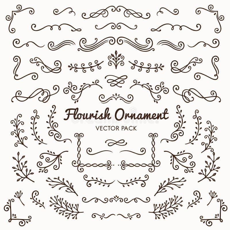 Bloei de elementen vector vastgestelde illus van het ornamenten kalligrafische ontwerp stock illustratie