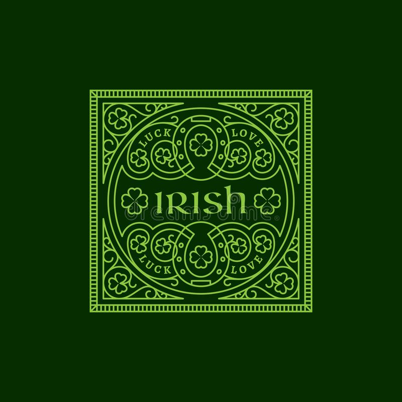 Bloei Iers etiket met klaverbladeren en hoeven royalty-vrije illustratie