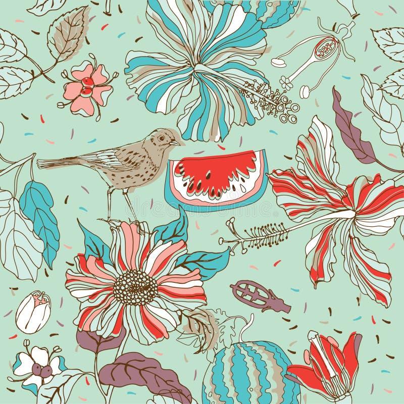Bloei naadloos patroon met vogel en watermeloen vector illustratie