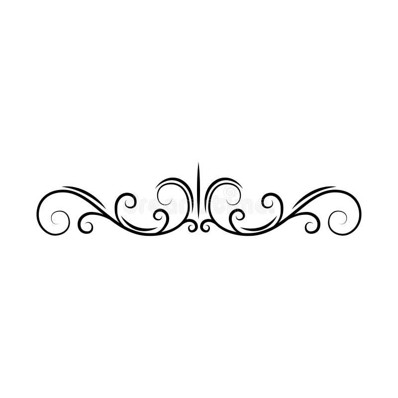 Bloei paginaverdeler De decoratieve grens van de rolpagina Wervelingen, krullen Boekdecor Filigraan sierkader Vector royalty-vrije illustratie