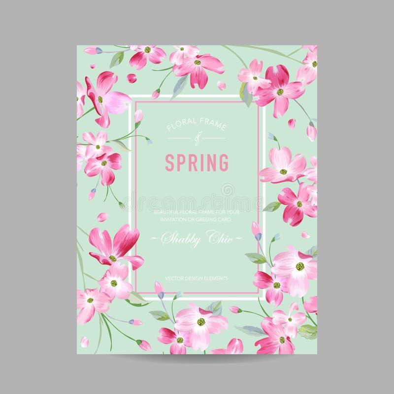 Bloeiend de Lente en de Zomer Bloemenkader Waterverf Sakura Flowers voor Uitnodiging, Huwelijk, de Kaart van de Babydouche royalty-vrije illustratie