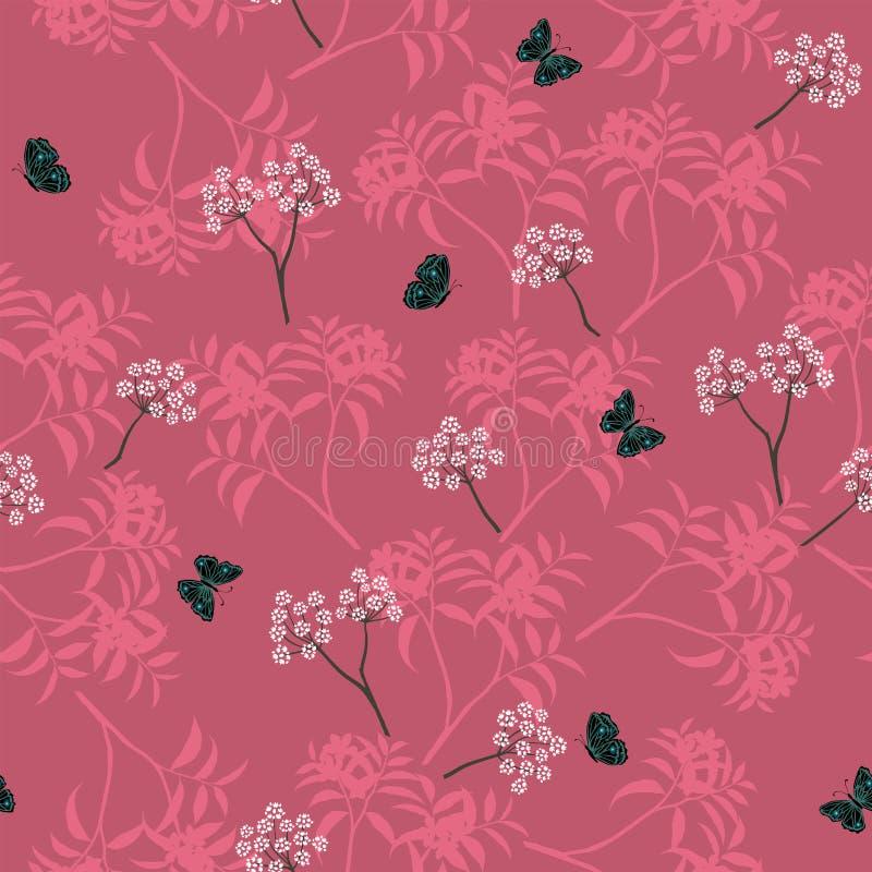 Bloeiend wit bloemen naadloos patroon met vlinder op monotone roze achtergrond stock illustratie
