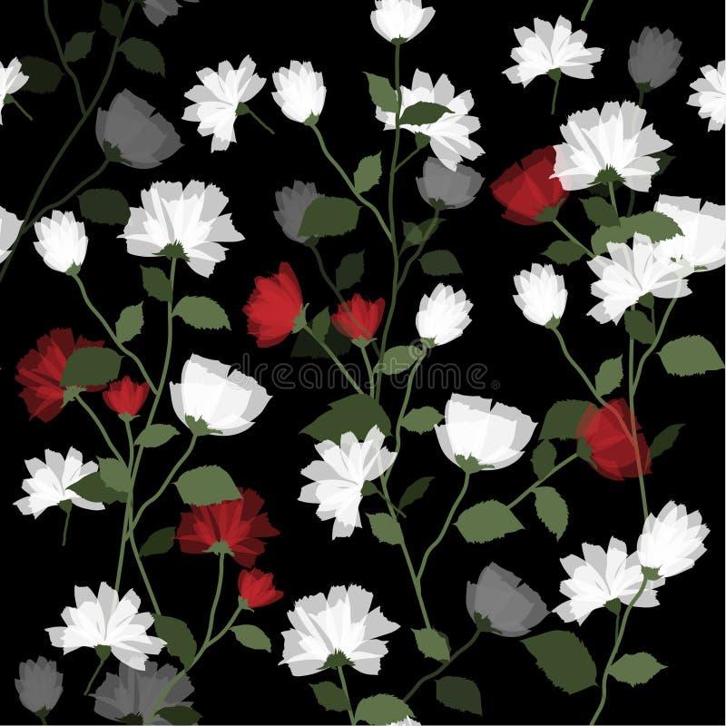 Bloeiende Bloem met bladeren op zwarte royalty-vrije illustratie