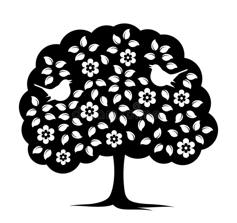 Bloeiende boom en vogels royalty-vrije illustratie