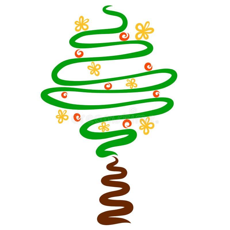 Bloeiende boom met vruchten, creatief kleurrijk beeld stock illustratie