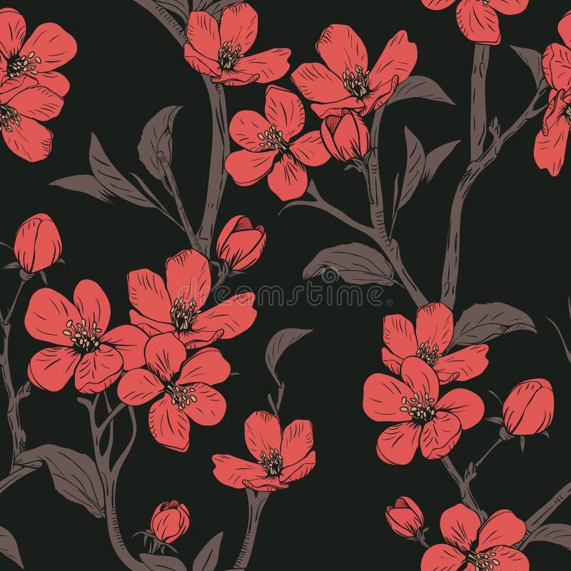 bloeiende boom Naadloos patroon met bloemen De lente bloementextuur Hand getrokken botanische vectorillustratie stock illustratie
