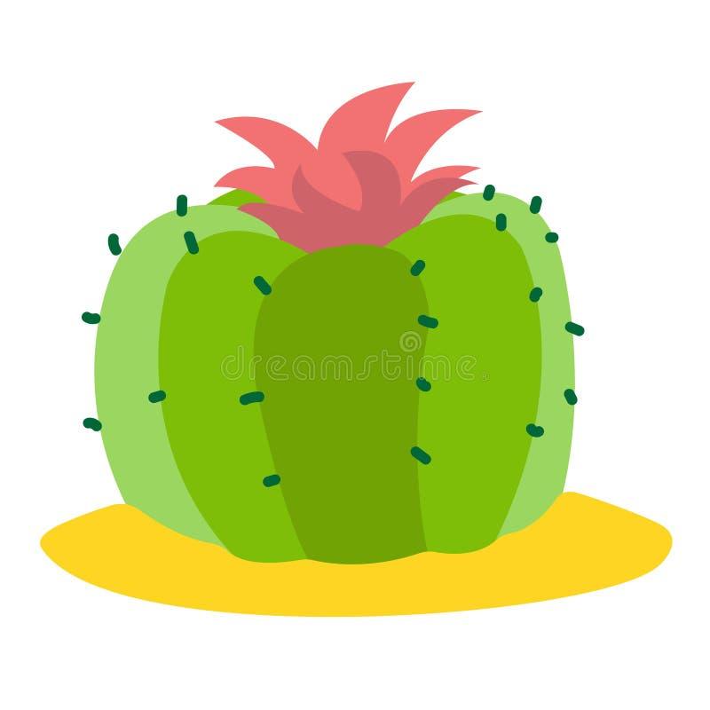Bloeiende cactus gekleurde illustratie, installatiesembleem op een witte achtergrond stock illustratie