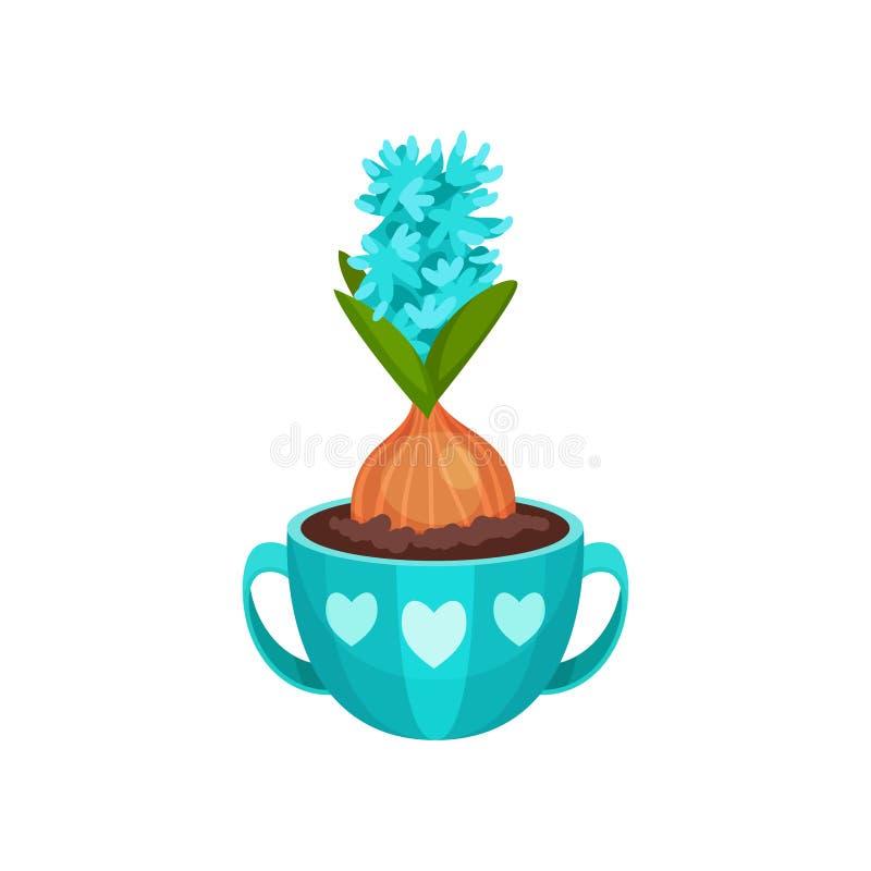 Bloeiende hyacint in blauwe pot met twee handvatten en hartenpatroon De bloem van de lente Leuke samenstelling Vlakke vector vector illustratie